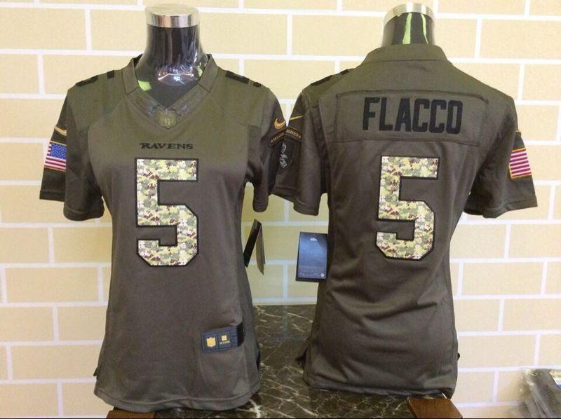 Womens Baltimore Ravens 5 Joe Flacco Green Nike Salute To Service Limited  Jersey f6f35b565