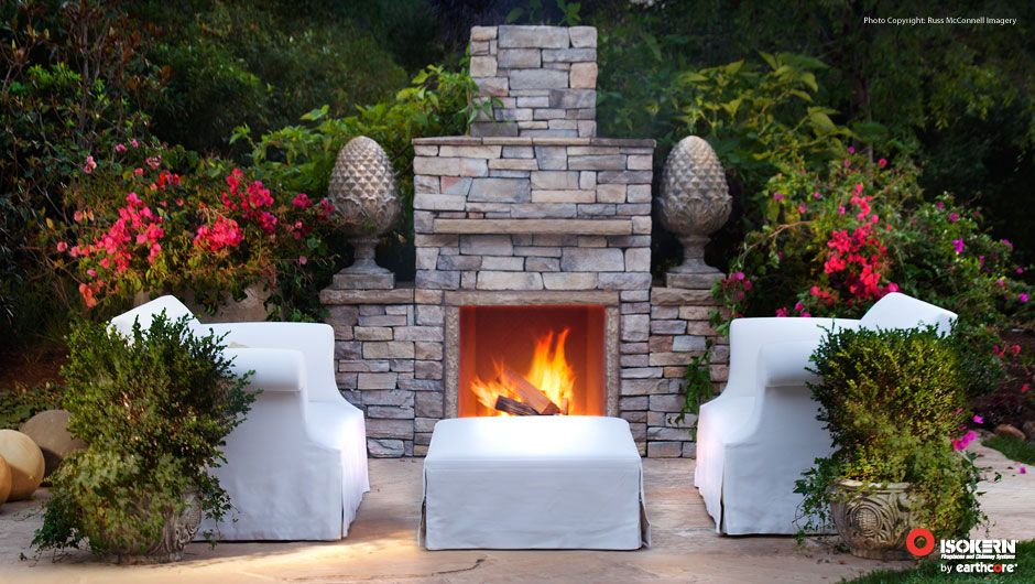 isokern outdoor fireplace with eldorado stone finishing