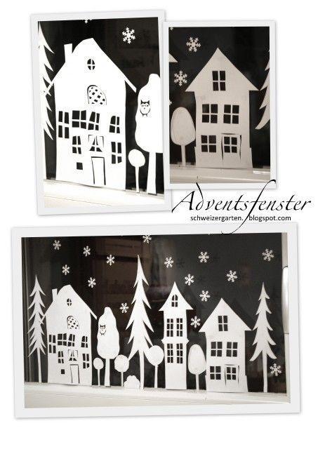 La Fenetre De L Avent Fensterbilder Weihnachten Basteln Fensterdeko Weihnachten Basteln Adventfenster