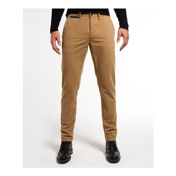 Superdry Call Sheet Chino Trousers ($90) ❤ liked on Polyvore featuring men's fashion, men's clothing, men's pants, men's casual pants, brown, mens chino pants, mens 5 pocket pants, mens brown pants and mens chinos pants