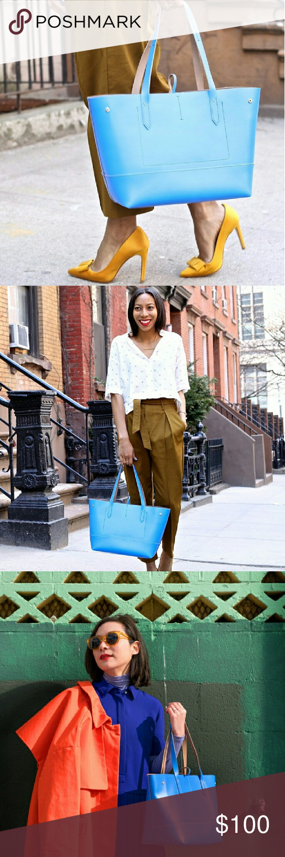J. Crew 'Uptown' Tote in Neon Azure Brand new and never been worn! As seen on countless fashion bloggers! J. Crew Bags Totes