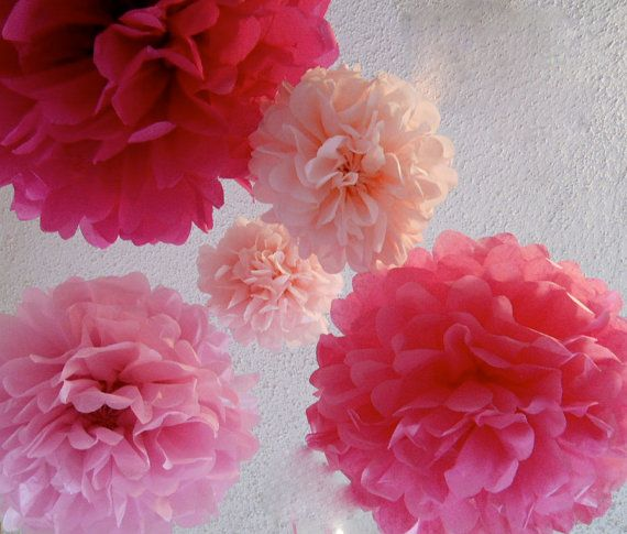 5 Tissue Paper Poms  in Pink party by StudioMucci on Etsy, $15.00