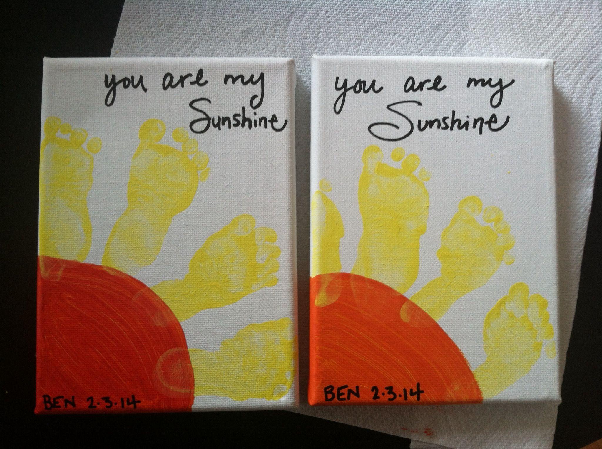 Baby Artwork Foot Prints Canvas Finger Paints Paint