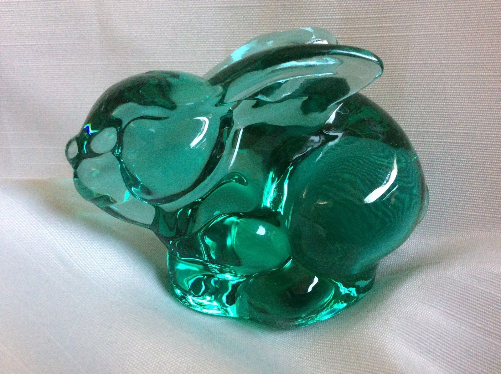 Vtg Silvestri Clear Green Art Glass Rabbit Bunny Figurine Paperweight | eBay