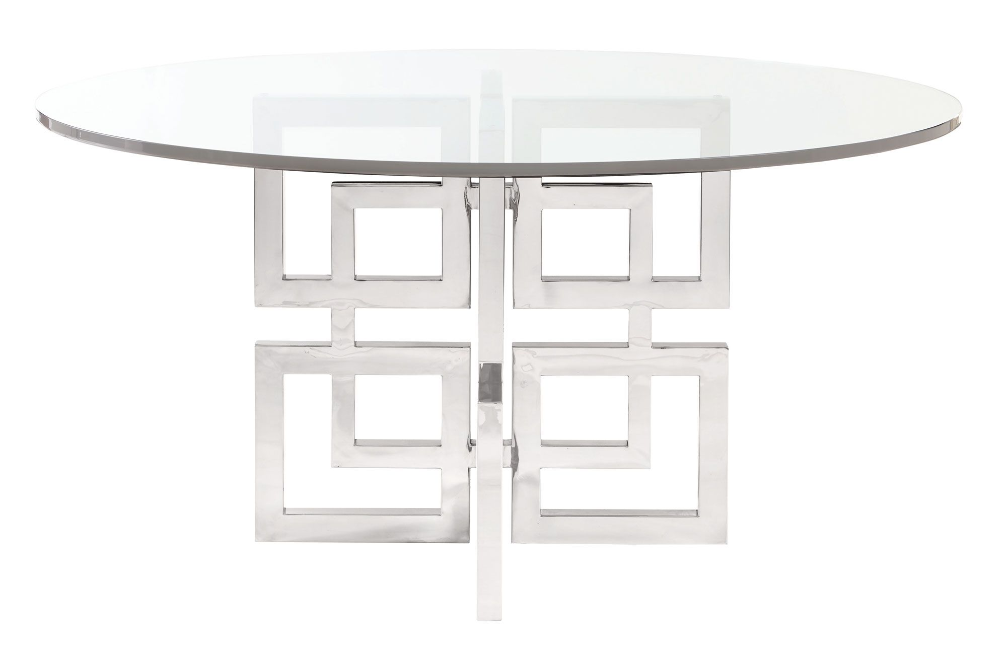 Round Dining Table Gl Top And Metal Base Bernhardt