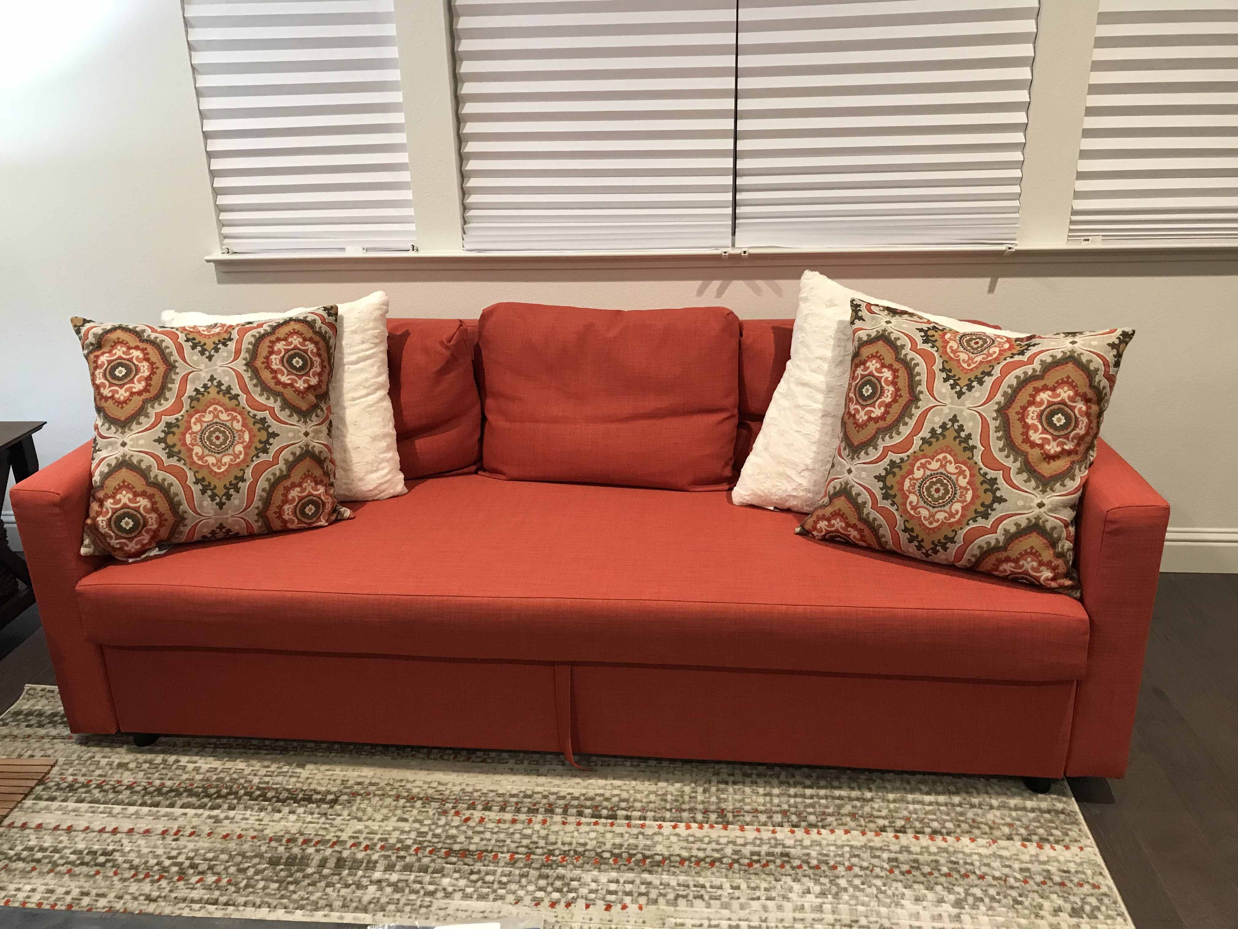 Best Burnt Orange Sofa Bed From Ikea Decorated With Oversized Pillows From Pier1 My Nap Zone 400 x 300
