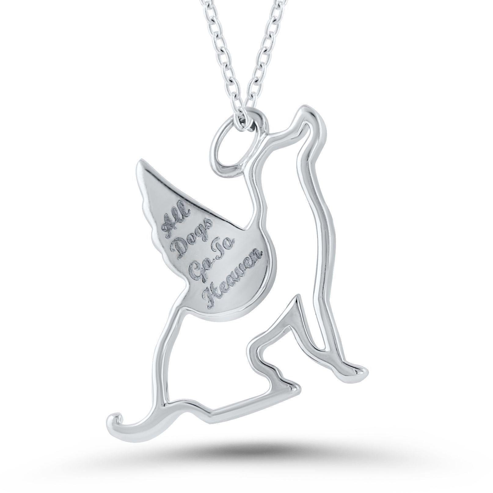 USA Sterling Silver Diamond Accent 'All Dogs Go To Heaven' Pendant