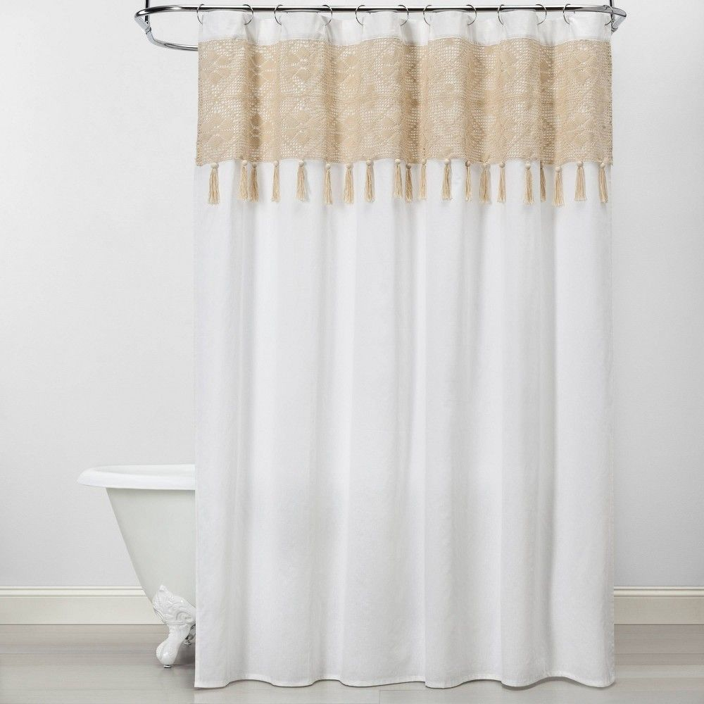 Macrame Inset With Wood Bead Tassels Shower Curtain White Beige