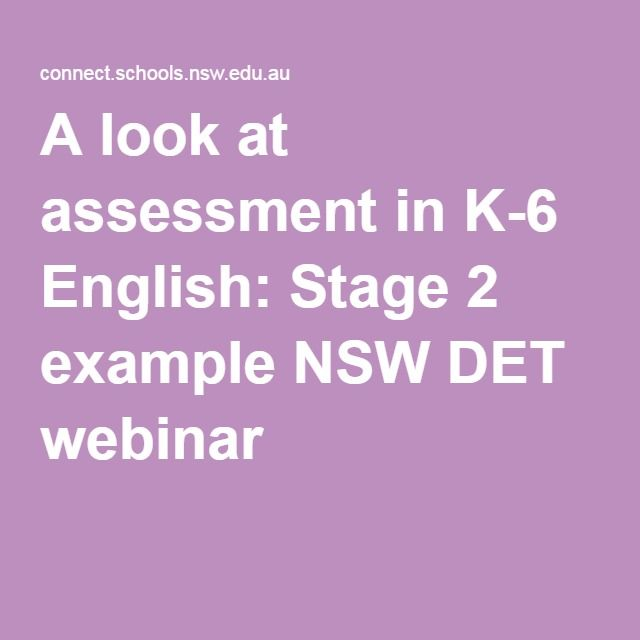 A Look At Assessment In K English Stage  Example Nsw Det