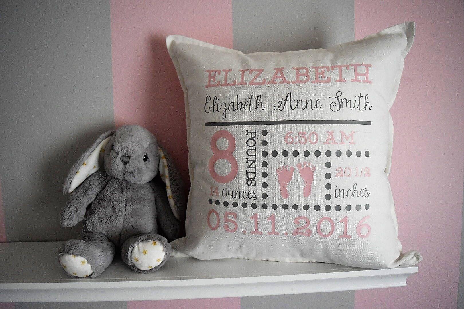 Birth Announcement Pillow Etsy Birth Announcement Pillow Personalized Baby Gifts Baby Gifts