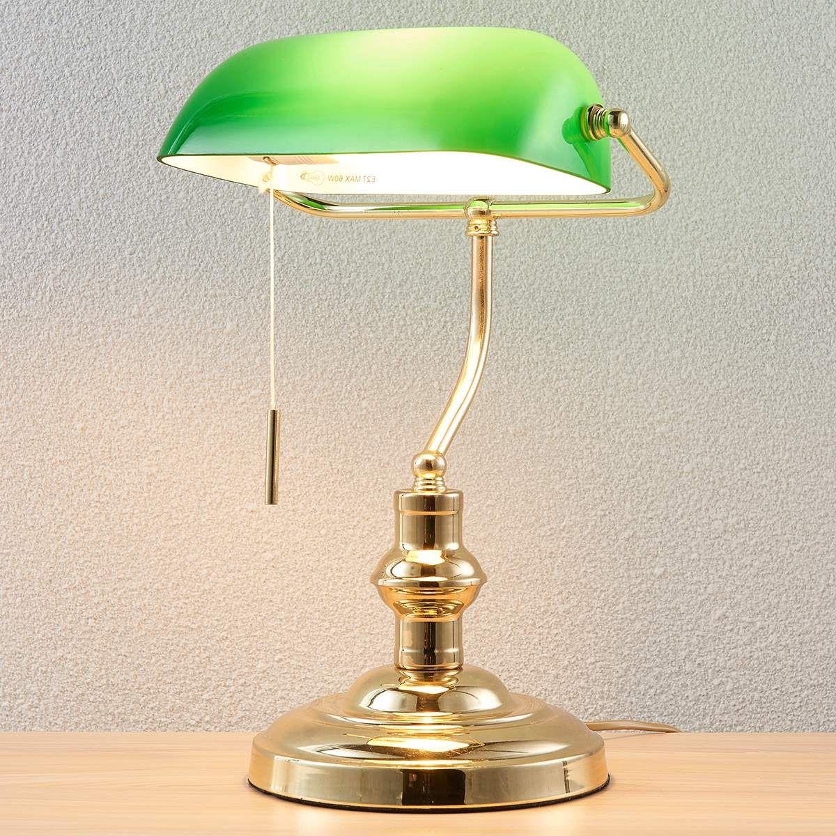 Bankerlampe Milenka Messing Poliert Schreibtischlampe Lampen