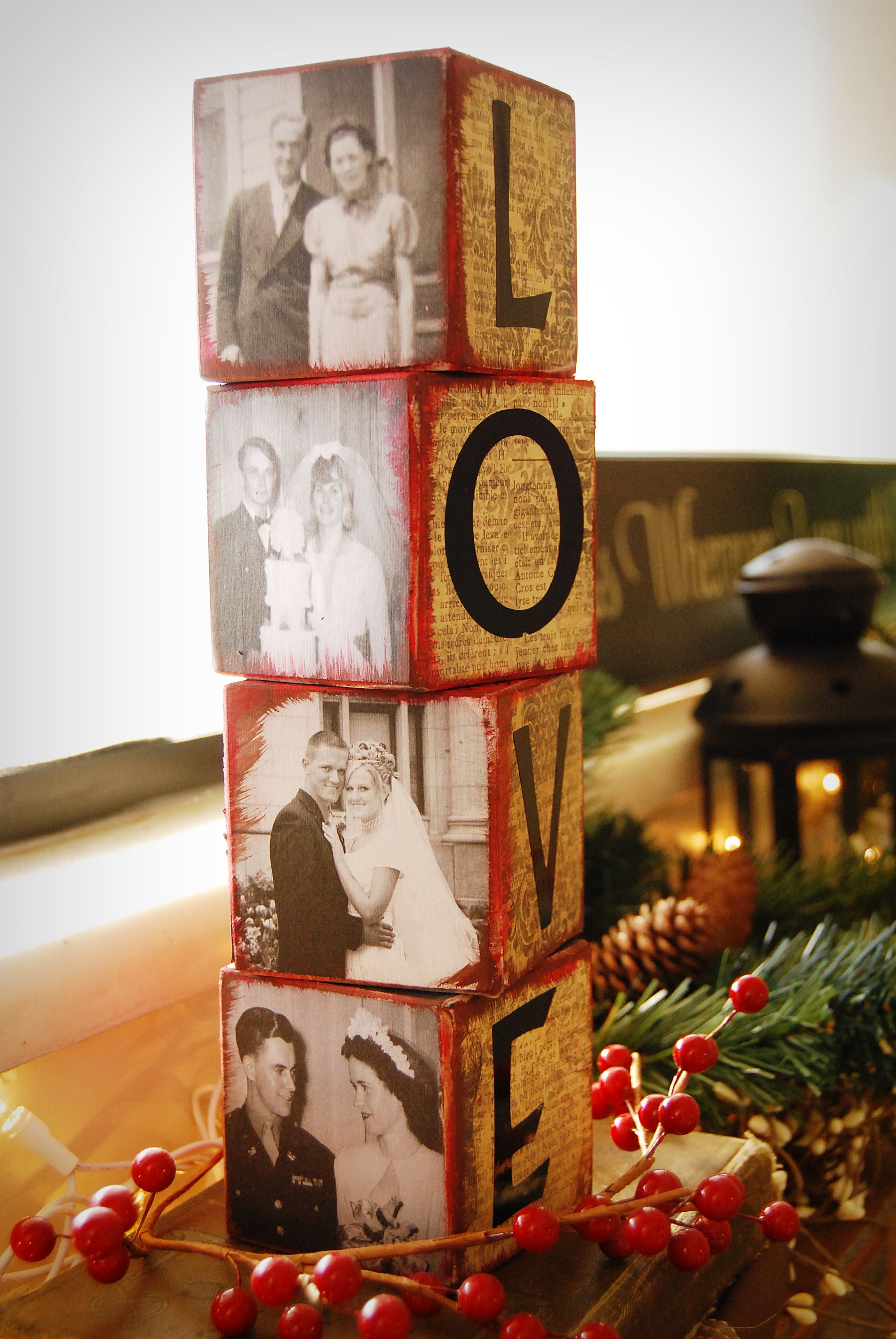Wedding anniversary decoration ideas at home  Love BlocksFilled with photos of Loved ones on wedding days