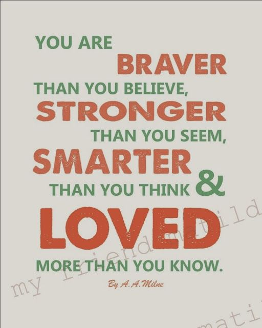 You Are Braver Than You Believe Stronger Than You Seem Smarter Than