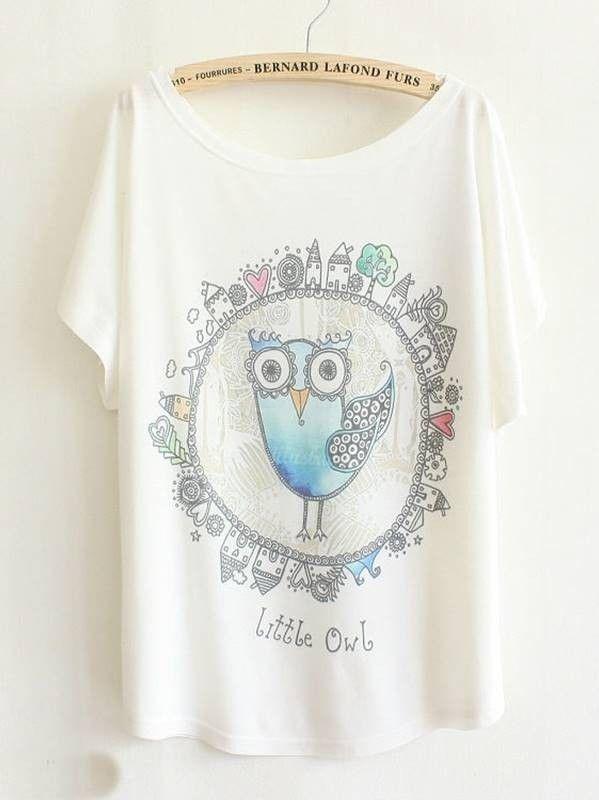 Camiseta Feminina com Estampa de Coruja - DMS Boutique