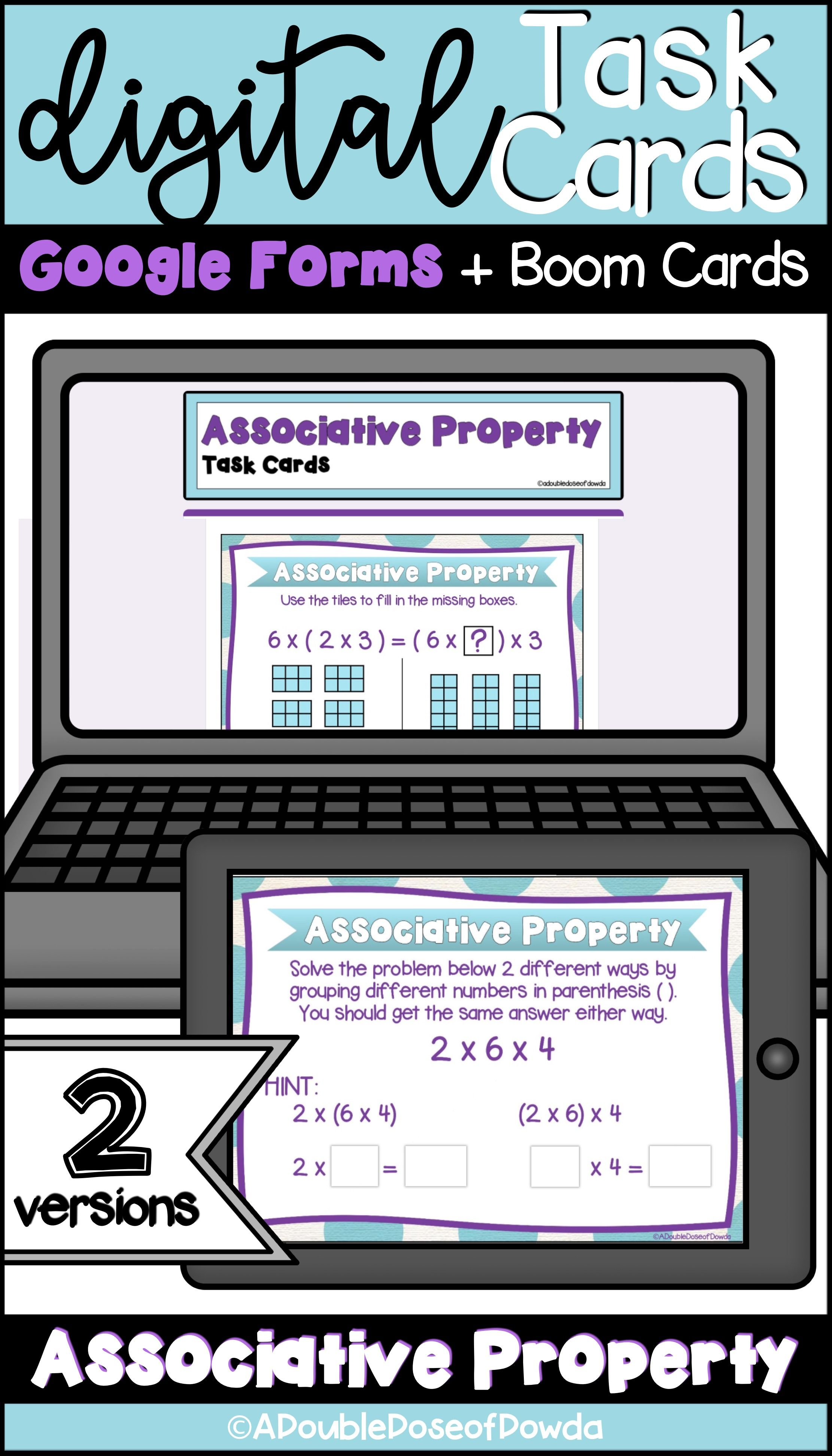 Associative Property Of Multiplication Digital Task Cards