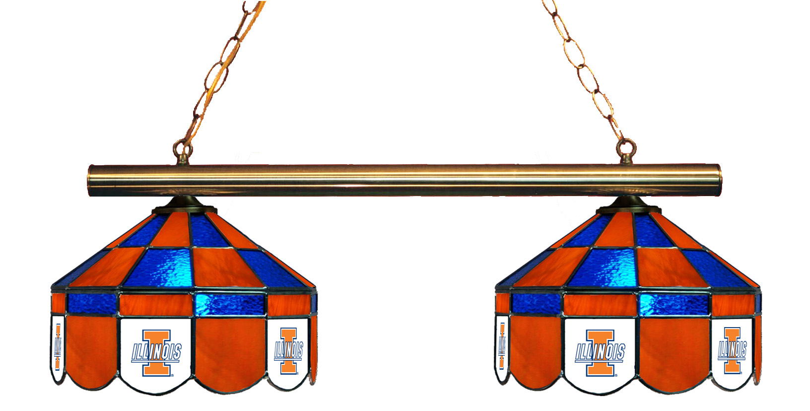 Illinois Fighting Illini Stained Glass 2-Light Executive Game Table Light