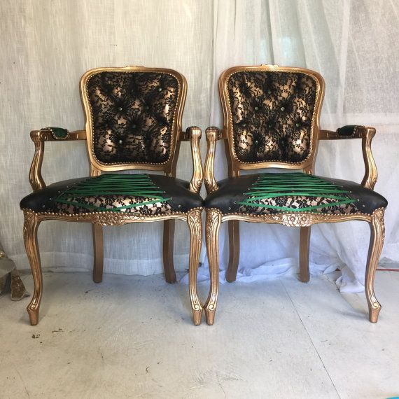 Pair Of French Louis Xvi Armchair Bergere 100 Genuine Leather Tufted Dining Chairs With Black Lace Details Up Louis Xvi Armchair Armchair Tufted Dining Chairs