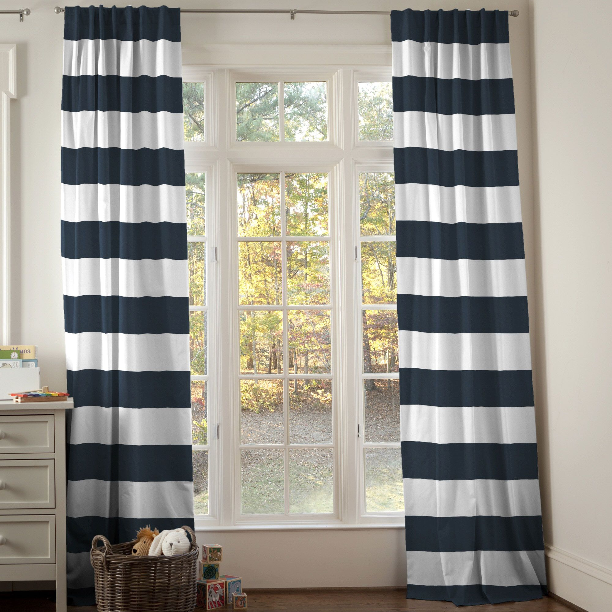 Navy Horizontal Stripe Drape Panel Carousel designs Rod pocket