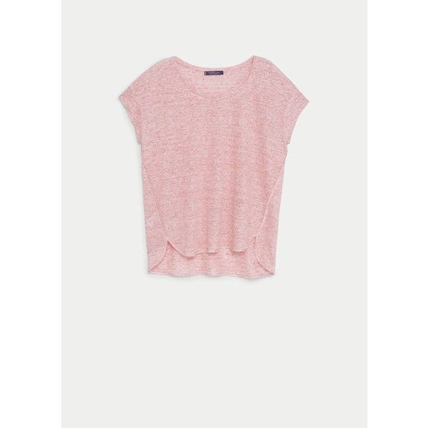 Violeta BY MANGO Striped Linen T-Shirt (235 NOK) ❤ liked on Polyvore featuring tops, t-shirts, medium red, plus size, scoop neck t shirt, striped tee, red tee, red striped t shirt and stripe tee