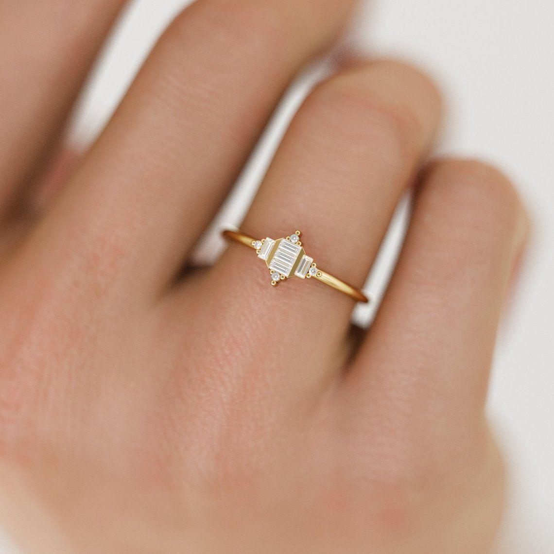 Art Deco Diamond Ring / Baguette Diamond Ring / Unique Art Deco Wedding Ring / Geometric Art Deco Ring / Art Deco Baguette Ring