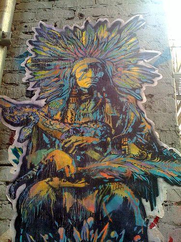 Native American poster graffiti (detail), via Flickr.