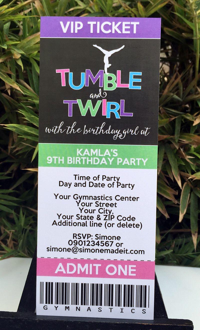 Gymnastics Birthday Party Ticket Invitations