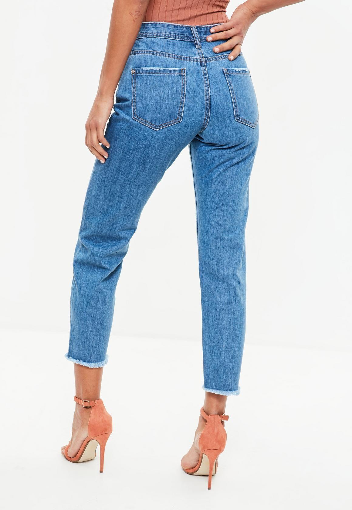 45bfec23938 Missguided - Blue Wrath Straight Leg Mid Rise Clean Cut Hem Jeans ...