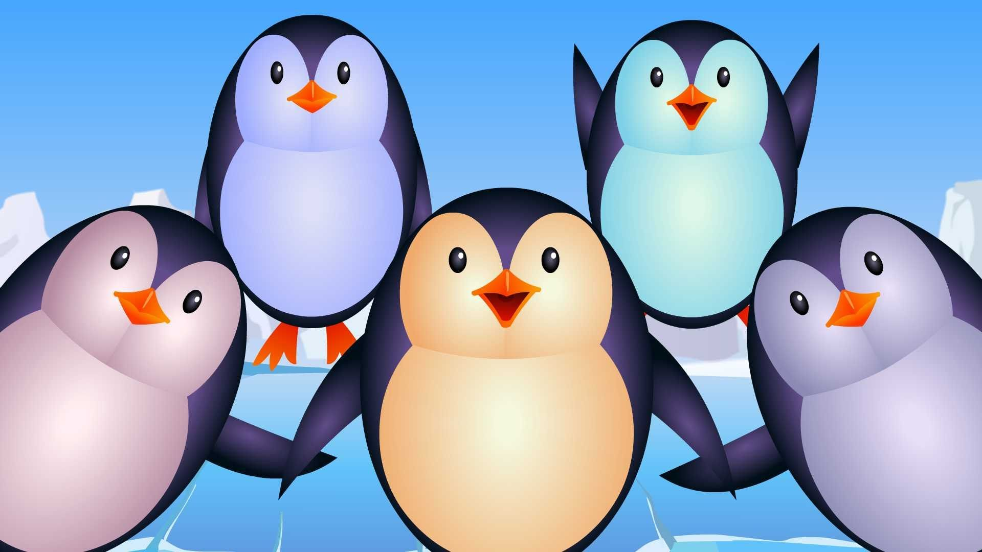 "Lyrics of the rhyme: ""Five little Penguins jumping in the Snow, One fell off and bumped his toe, Baby called the doctor and the doctor said No more Penguins ..."