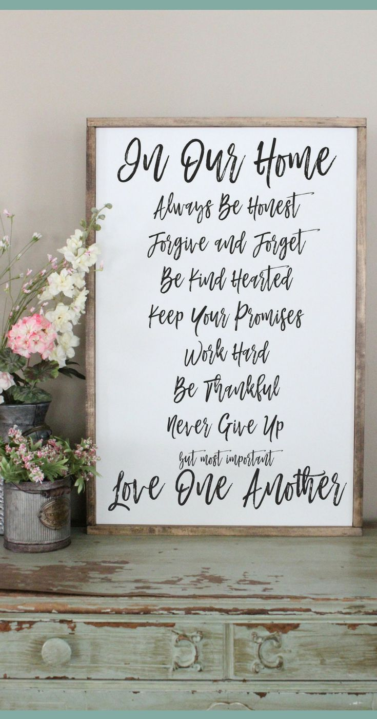 Family rules wood sign in our home framed plaque be thankful wall