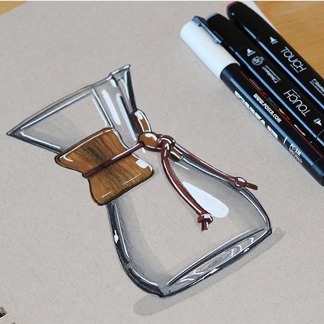 Hand sketch rendered Chemex wood coffee makernice work on the - best of blueprint design maker