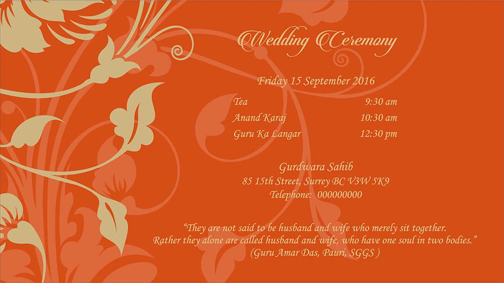 Sikh Wedding Invitations Surrey Bc Interiorhalloweenco