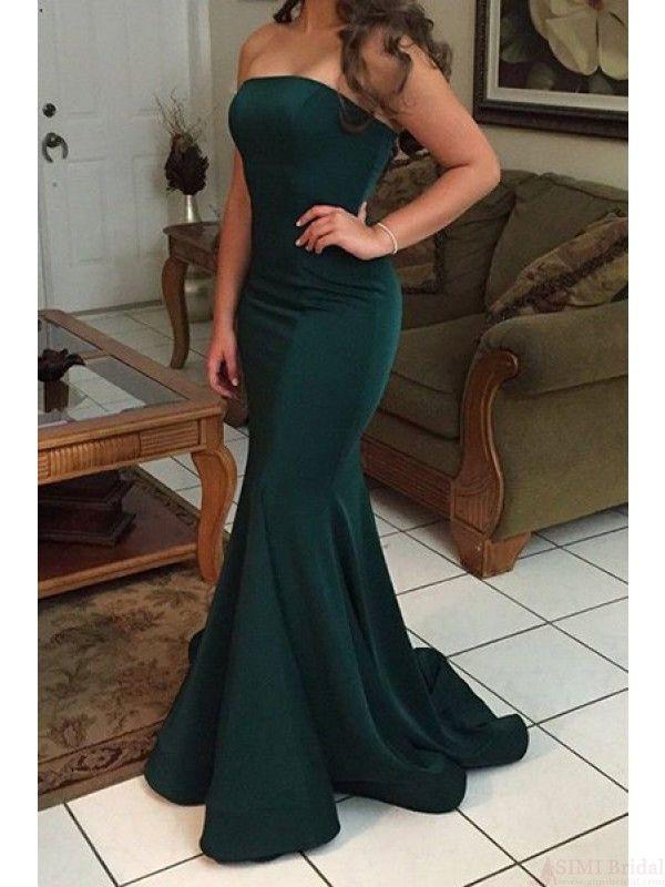 1204bd1b8ce Dark Green Strapless Long Mermaid Prom Dresses Evening Dresses ...