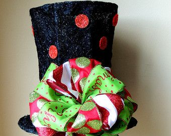 Lighted Christmas Tree Topper Black Top Hat Tree Topper Bow Frosty  - Christmas Tree Top Hat