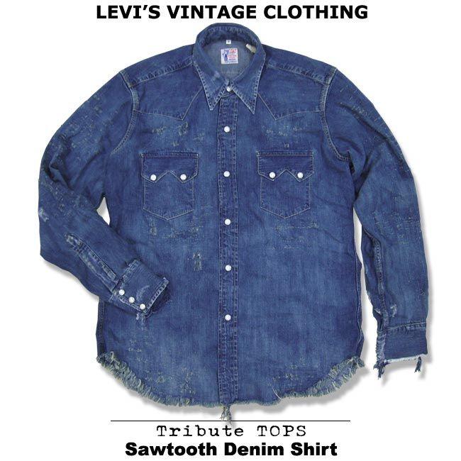 ff599fc739 LEVI s VINTAGE CLOTHING 1955 SAWTOOTH DENIM SHIRT SILVER RIVERS Levi s  vintage closing l s denim Western shirt FW 2010 new items!