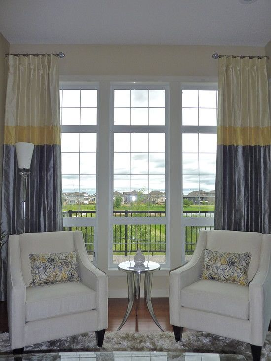 Love the tri-color curtains. Pretty easy DIY with a very ...