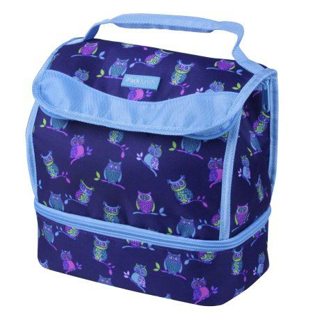 Ipack Lunch Insulated Meal Carrier 2 Compartment Bag Tote Blue Owl Print