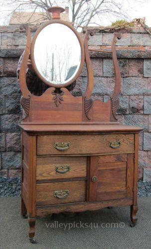 Vintage Antique Victorian Oak Washstand W Oval Mirror By Picks4u
