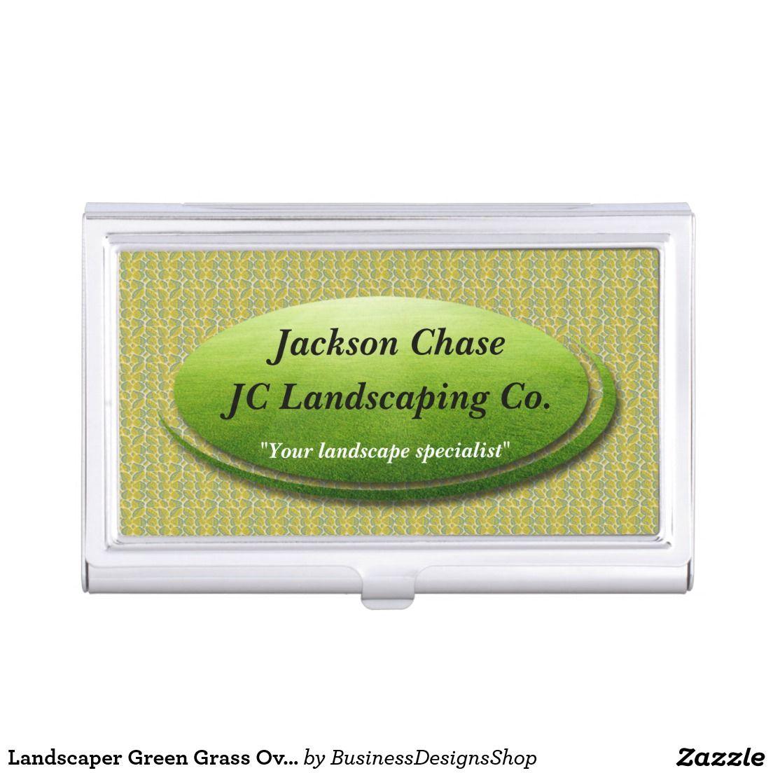 Landscaper Green Grass Oval Business Card Holder | Business Card ...