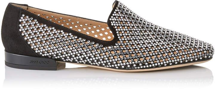 7e4cece53ae Jimmy Choo JAIDA FLAT Black Diamond Perforated Suede Square Toe Slippers  with Crystal Hotfix