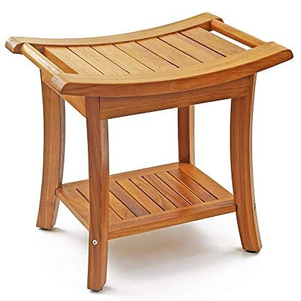 """welland 19.5"""" deluxe teak wood shower bench, 2-tier"""