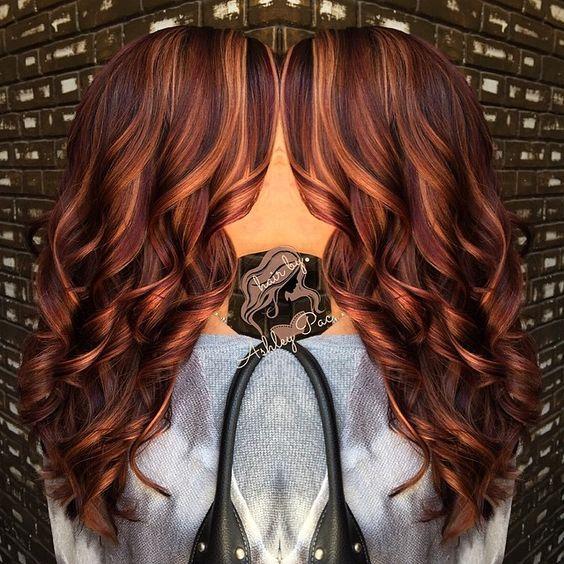 Burgandy With Carmel Blonde Highlights Copper Redviolet Golden