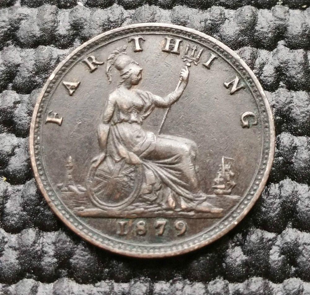 Q54) British (UK) - 1879 Queen Victoria Farthing Coin KM
