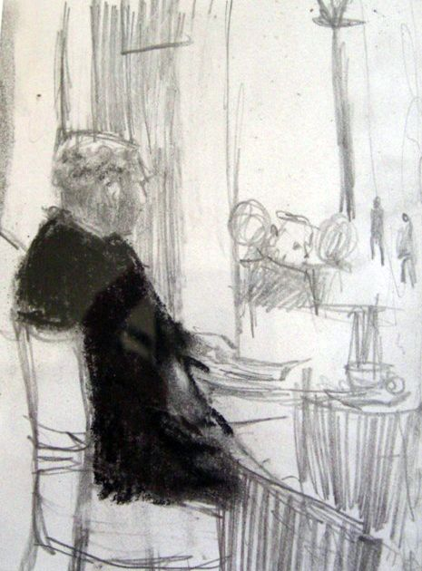 Cafe Interior by Gina Ward, Mixed Media