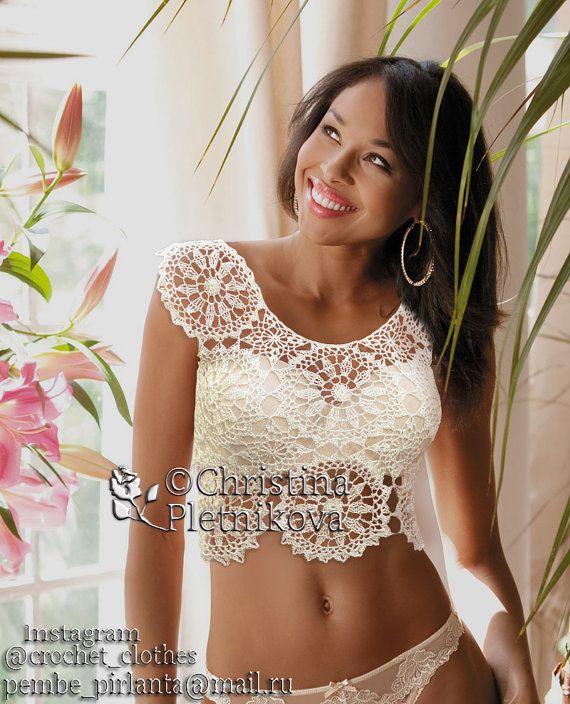 Crochet lace crop top cultivo boho hippie crochet blanco silk ...