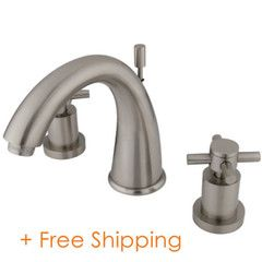 """Two Handle 8"""" to 16"""" Widespread Lavatory Faucet with Brass Pop-up Satin Nickel KS2968DX"""