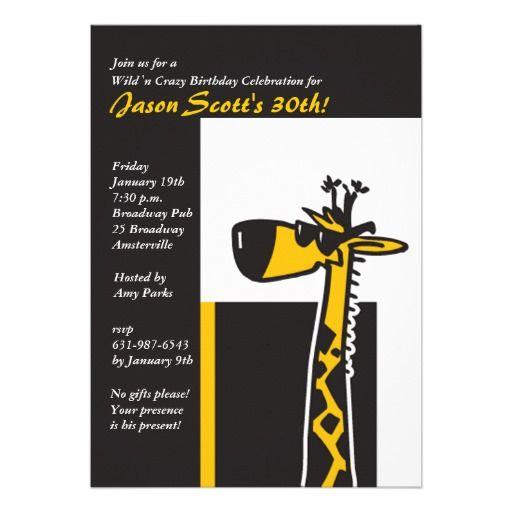 Cool Giraffe Invitation