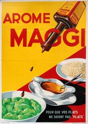 Arome Maggi 1950s - original vintage poster listed on AntikBar.co.uk #InternationalHotAndSpicyFoodDay