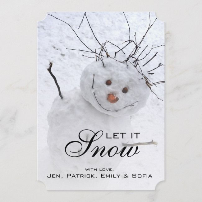 Christmas Snowman Sitting In A Snowy Outdoors Holiday Card |  Christmas Snowman Sitting In A Snowy Outdoors Holiday Card