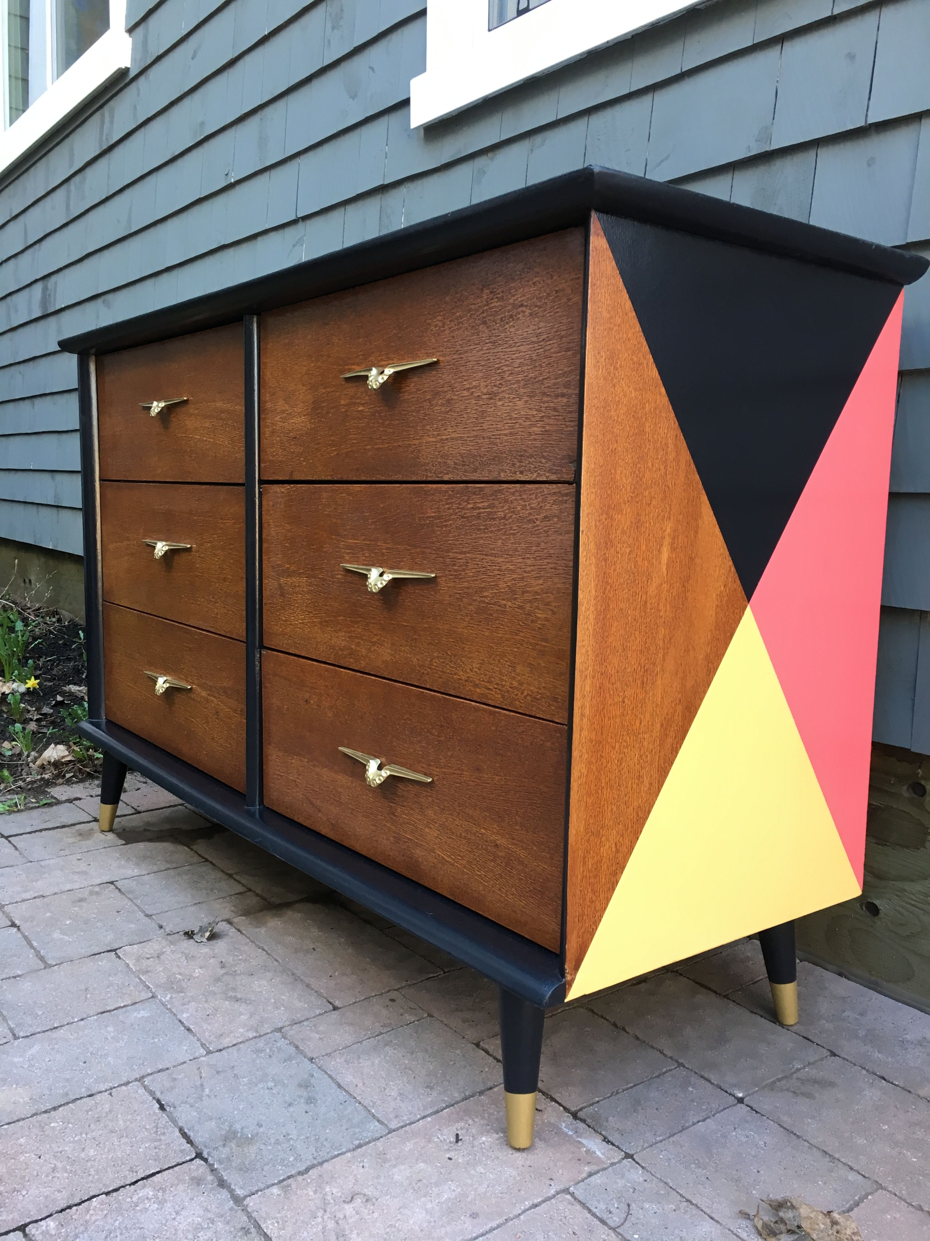 Refinished This Mid Century Modern Dresser With General Finished Lamp Black Coastal Blue Coral Crush And Somerset Yellow Decor Home Decor Furniture Diy
