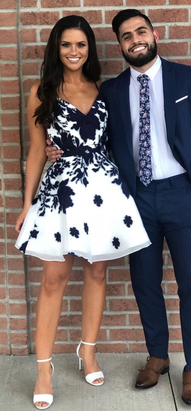 Cute straps ivory short homecoming dress with navy blue appliques